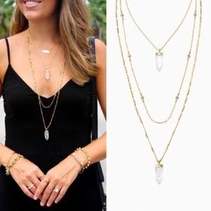 Stella & Dot Gold Aria Pendant Necklace